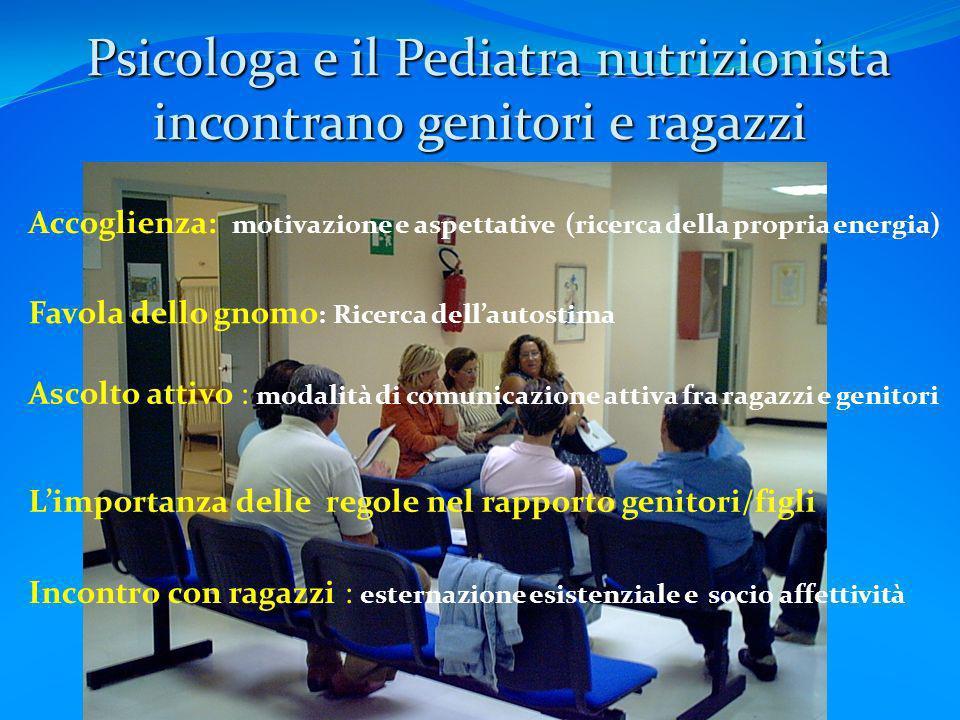 Psicologa e il Pediatra nutrizionista incontrano genitori e ragazzi Psicologa e il Pediatra nutrizionista incontrano genitori e ragazzi Accoglienza: m