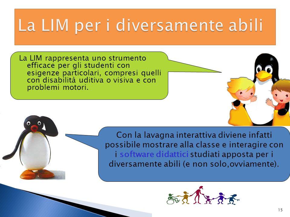 La LIM rappresenta uno strumento efficace per gli studenti con esigenze particolari, compresi quelli con disabilità uditiva o visiva e con problemi mo