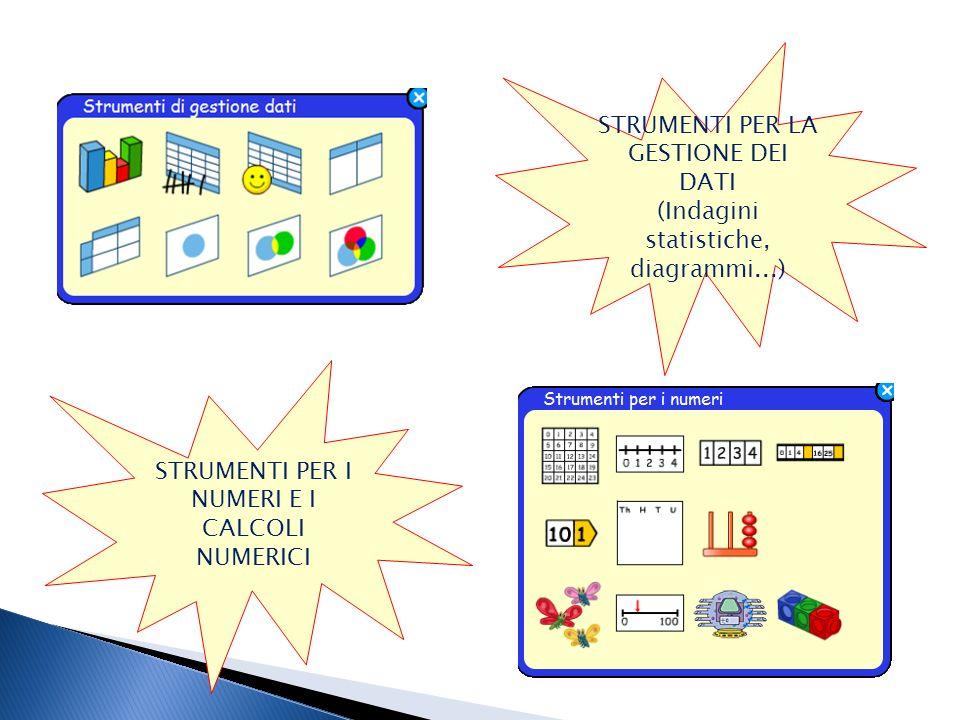 STRUMENTI PER LA GESTIONE DEI DATI (Indagini statistiche, diagrammi...) STRUMENTI PER I NUMERI E I CALCOLI NUMERICI