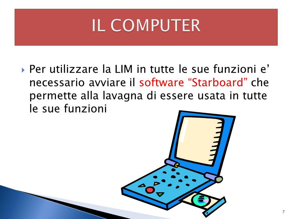 Per utilizzare la LIM in tutte le sue funzioni e necessario avviare il software Starboard che permette alla lavagna di essere usata in tutte le sue fu