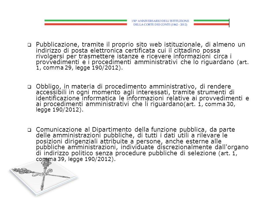 Pubblicazione, tramite il proprio sito web istituzionale, di almeno un indirizzo di posta elettronica certificata cui il cittadino possa rivolgersi pe