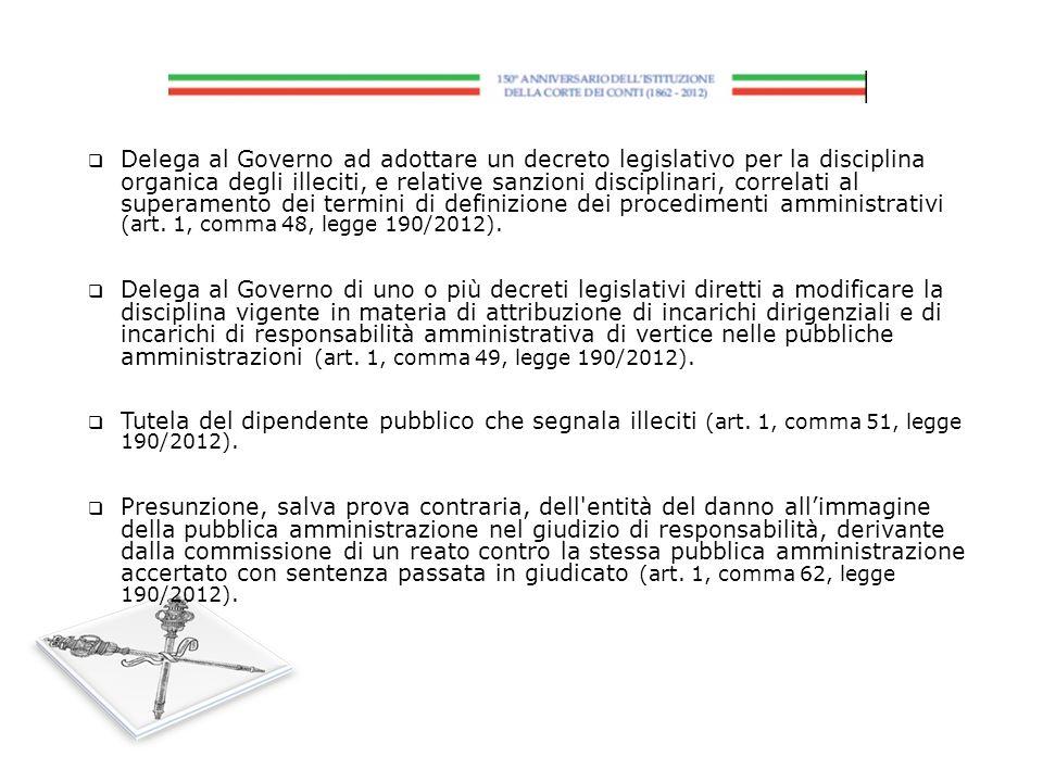 Delega al Governo ad adottare un decreto legislativo per la disciplina organica degli illeciti, e relative sanzioni disciplinari, correlati al superam