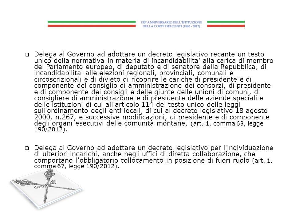 Delega al Governo ad adottare un decreto legislativo recante un testo unico della normativa in materia di incandidabilita' alla carica di membro del P