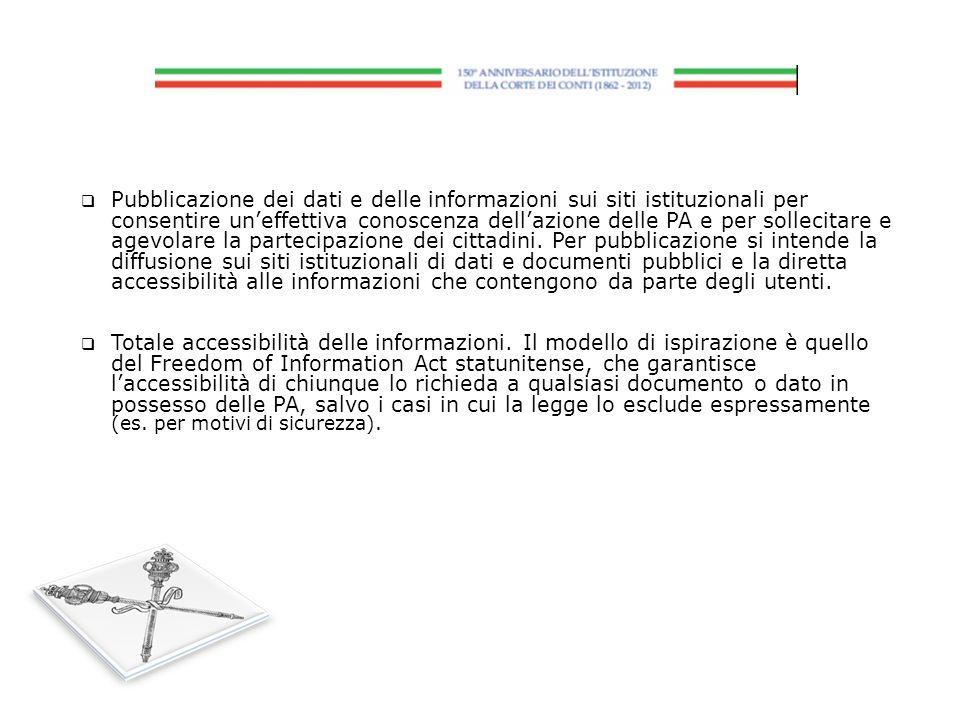 Pubblicazione dei dati e delle informazioni sui siti istituzionali per consentire uneffettiva conoscenza dellazione delle PA e per sollecitare e agevo
