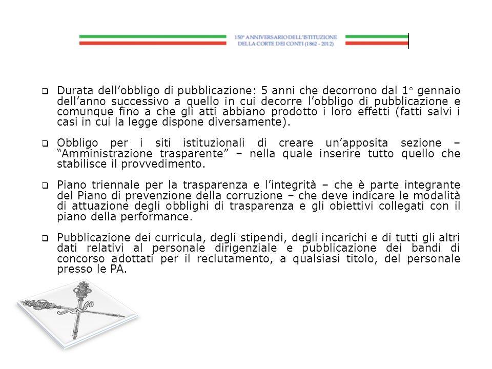 Durata dellobbligo di pubblicazione: 5 anni che decorrono dal 1° gennaio dellanno successivo a quello in cui decorre lobbligo di pubblicazione e comun