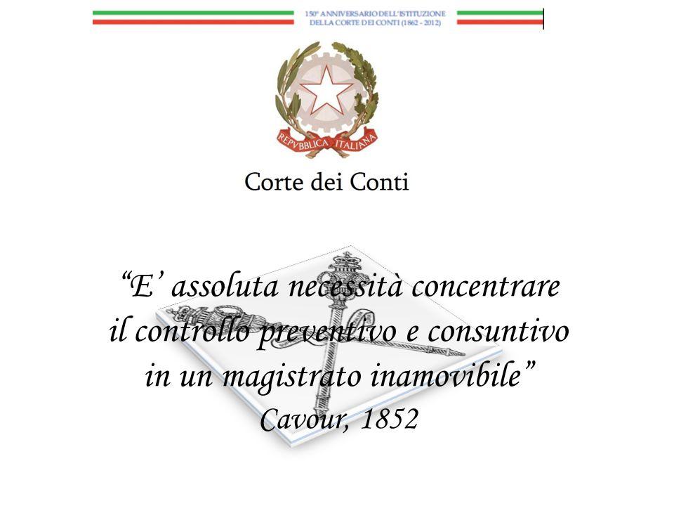 E assoluta necessità concentrare il controllo preventivo e consuntivo in un magistrato inamovibile Cavour, 1852