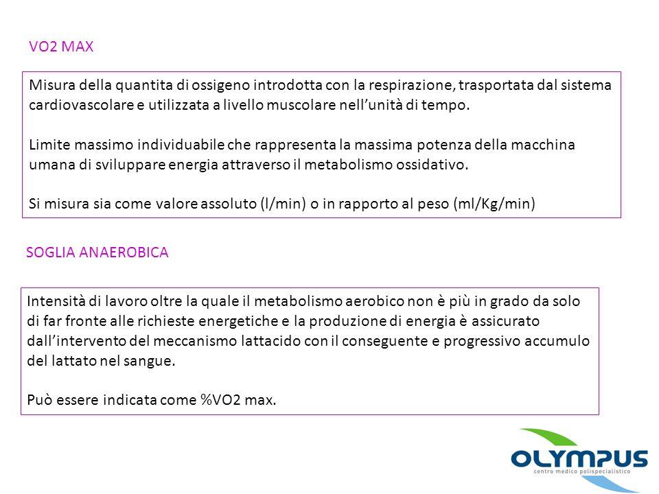 VO2 MAX Misura della quantita di ossigeno introdotta con la respirazione, trasportata dal sistema cardiovascolare e utilizzata a livello muscolare nel