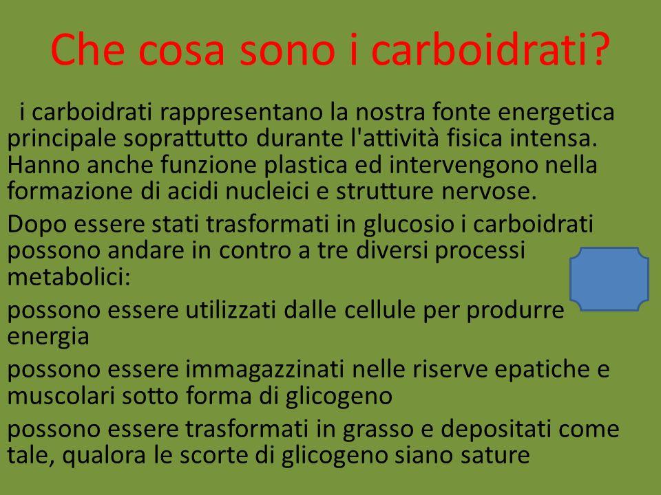 Che cosa sono i carboidrati? i carboidrati rappresentano la nostra fonte energetica principale soprattutto durante l'attività fisica intensa. Hanno an