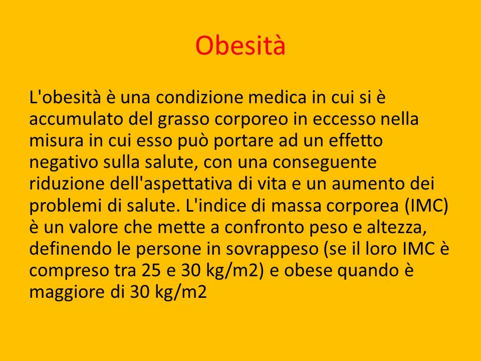 Obesità L'obesità è una condizione medica in cui si è accumulato del grasso corporeo in eccesso nella misura in cui esso può portare ad un effetto neg