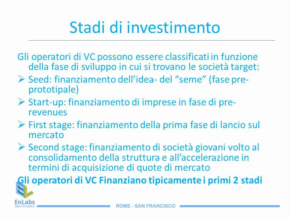 Stadi di investimento Gli operatori di VC possono essere classificati in funzione della fase di sviluppo in cui si trovano le società target: Seed: fi