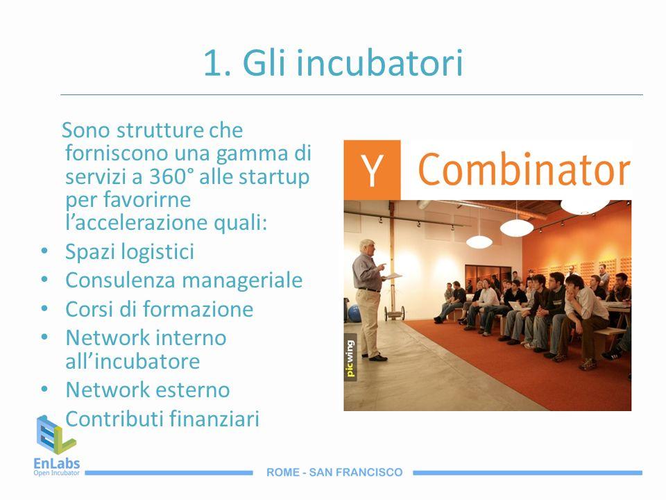 1. Gli incubatori Sono strutture che forniscono una gamma di servizi a 360° alle startup per favorirne laccelerazione quali: Spazi logistici Consulenz