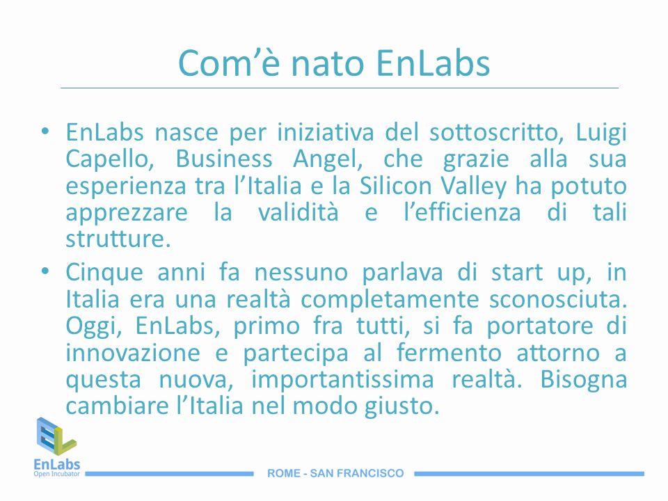 Comè nato EnLabs EnLabs nasce per iniziativa del sottoscritto, Luigi Capello, Business Angel, che grazie alla sua esperienza tra lItalia e la Silicon