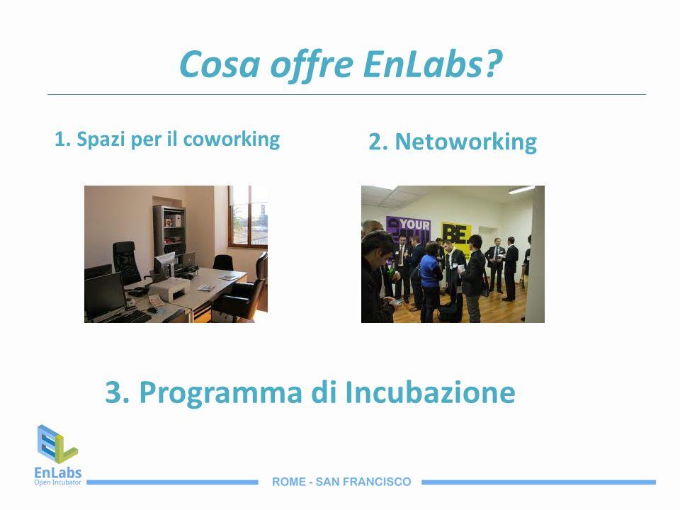 Cosa offre EnLabs? 1. Spazi per il coworking 2. Netoworking 3. Programma di Incubazione