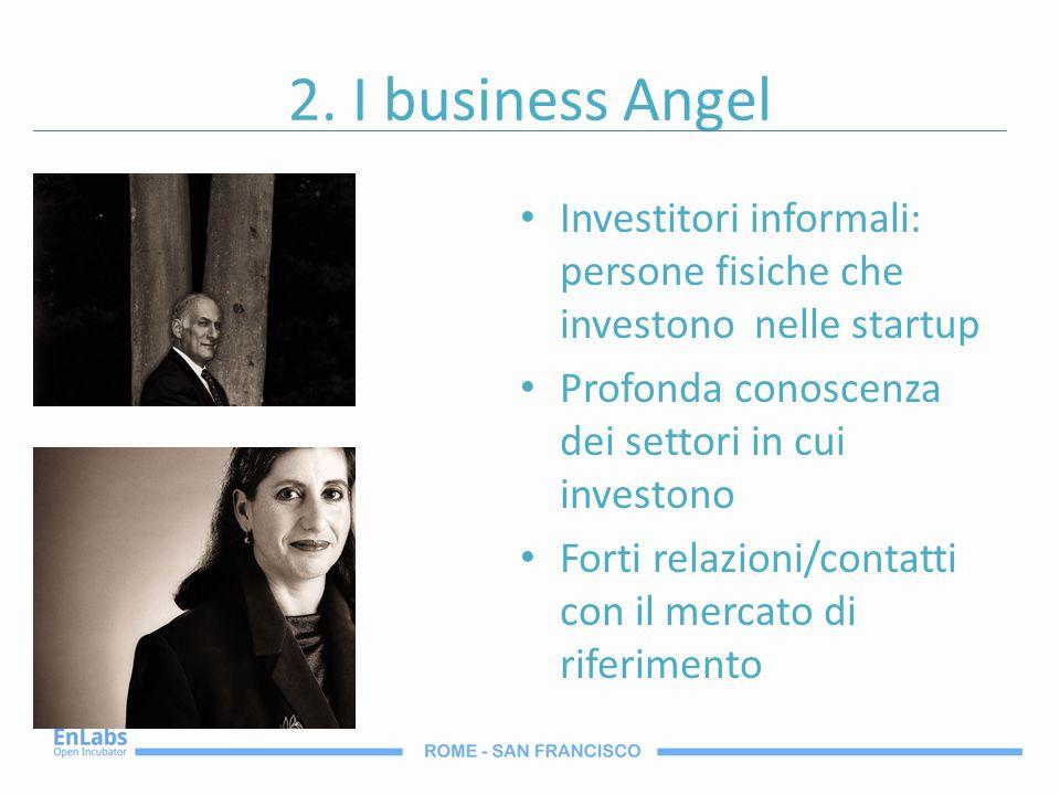 2. I business Angel Investitori informali: persone fisiche che investono nelle startup Profonda conoscenza dei settori in cui investono Forti relazion