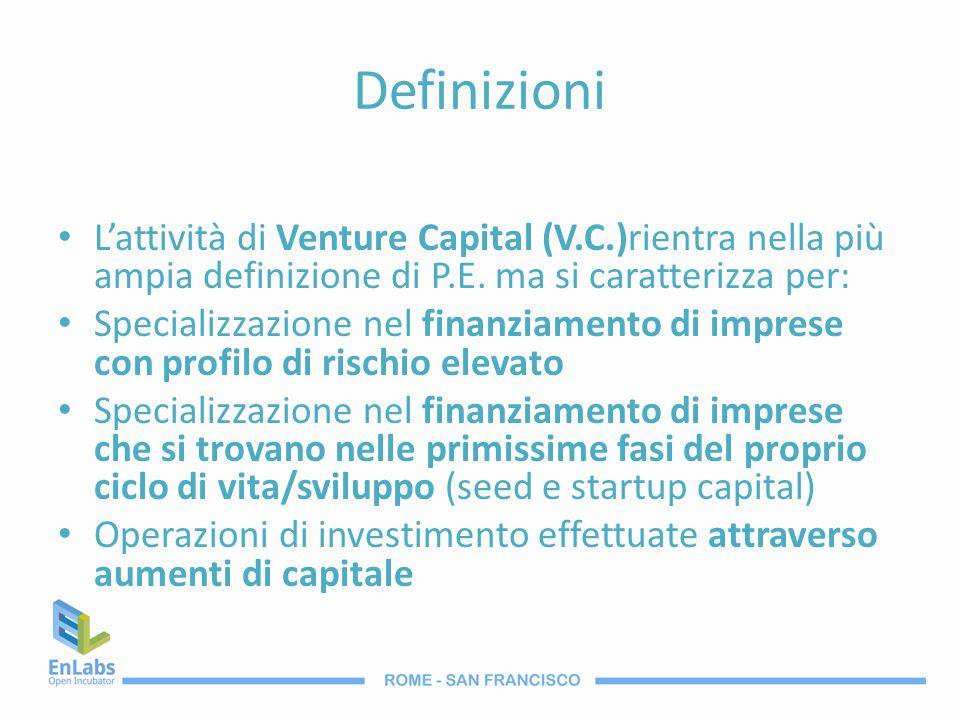 Definizioni Lattività di Venture Capital (V.C.)rientra nella più ampia definizione di P.E. ma si caratterizza per: Specializzazione nel finanziamento