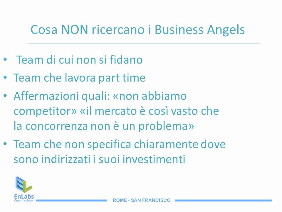 Cosa NON ricercano i Business Angels Team di cui non si fidano Team che lavora part time Affermazioni quali: «non abbiamo competitor» «il mercato è co