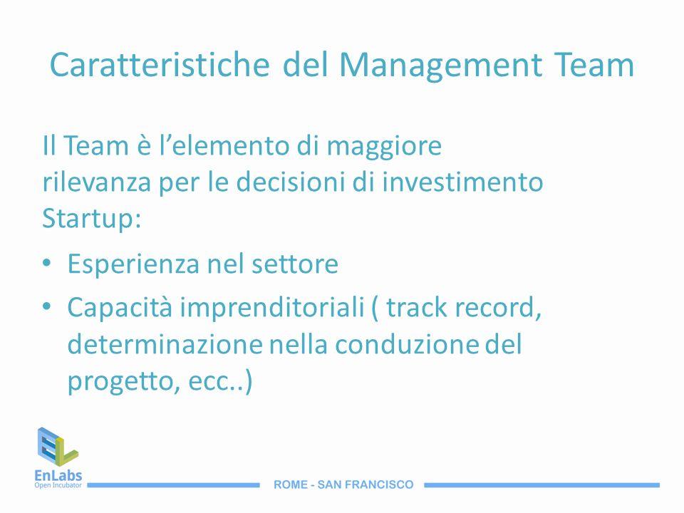 Caratteristiche del Management Team Esperienza nel settore Capacità imprenditoriali ( track record, determinazione nella conduzione del progetto, ecc.