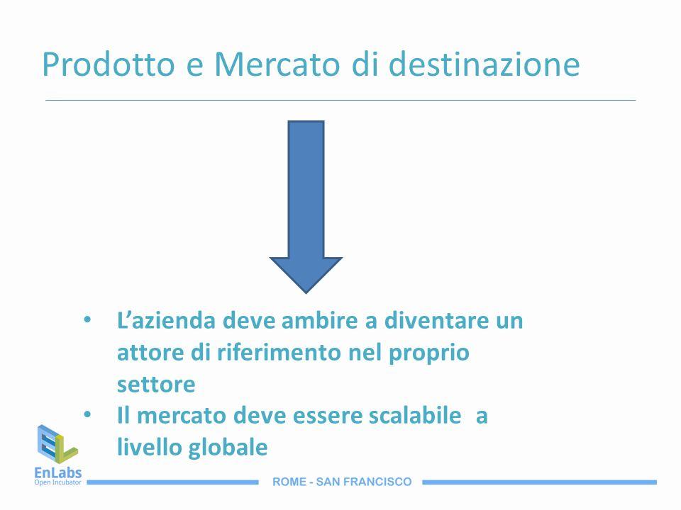 Prodotto e Mercato di destinazione Lazienda deve ambire a diventare un attore di riferimento nel proprio settore Il mercato deve essere scalabile a li