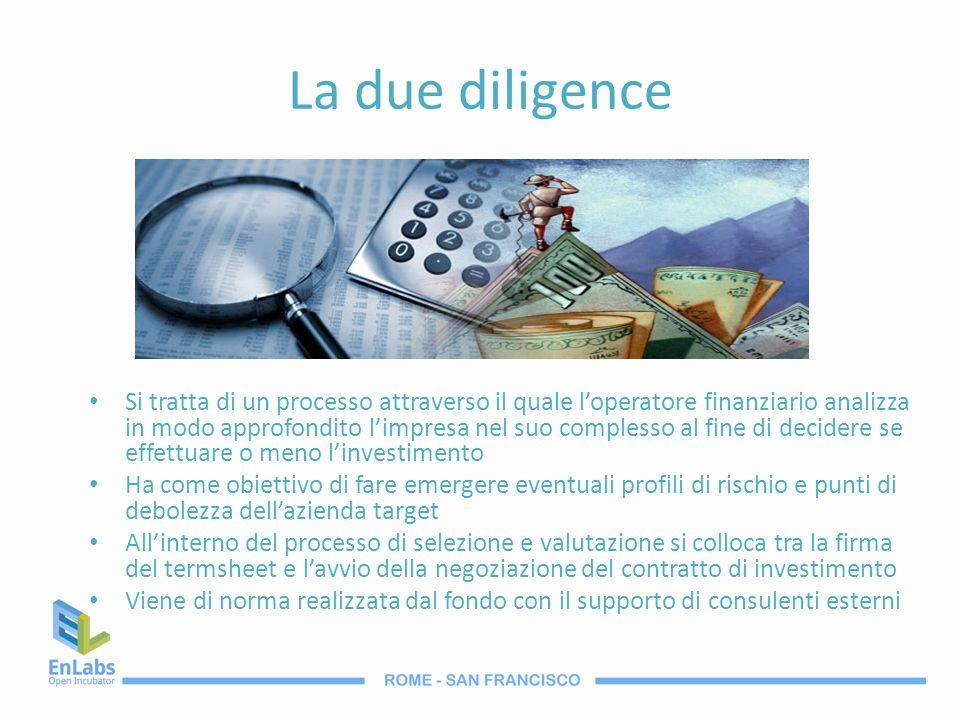 La due diligence Si tratta di un processo attraverso il quale loperatore finanziario analizza in modo approfondito limpresa nel suo complesso al fine