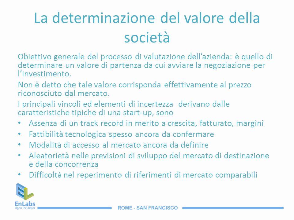 La determinazione del valore della società Obiettivo generale del processo di valutazione dellazienda: è quello di determinare un valore di partenza d