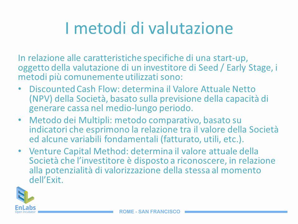 I metodi di valutazione In relazione alle caratteristiche specifiche di una start-up, oggetto della valutazione di un investitore di Seed / Early Stag