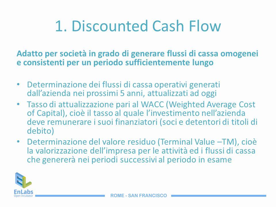 1. Discounted Cash Flow Adatto per società in grado di generare flussi di cassa omogenei e consistenti per un periodo sufficientemente lungo Determina