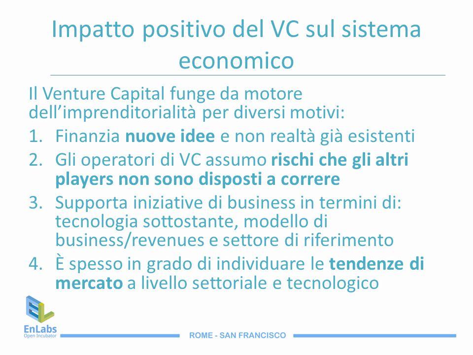 Impatto positivo del VC sul sistema economico Il Venture Capital funge da motore dellimprenditorialità per diversi motivi: 1.Finanzia nuove idee e non