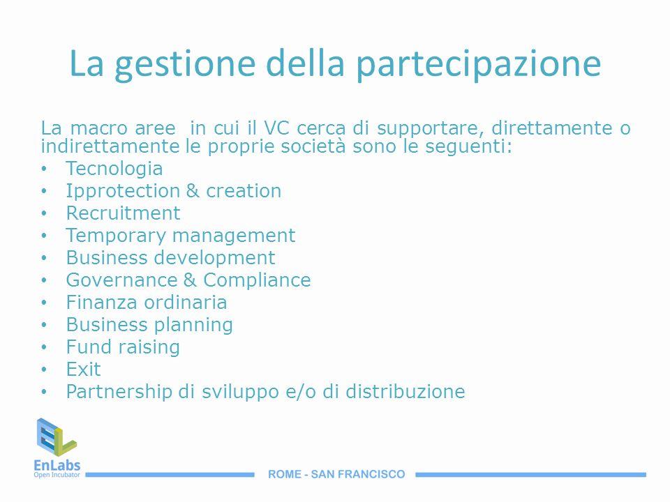 La gestione della partecipazione La macro aree in cui il VC cerca di supportare, direttamente o indirettamente le proprie società sono le seguenti: Te