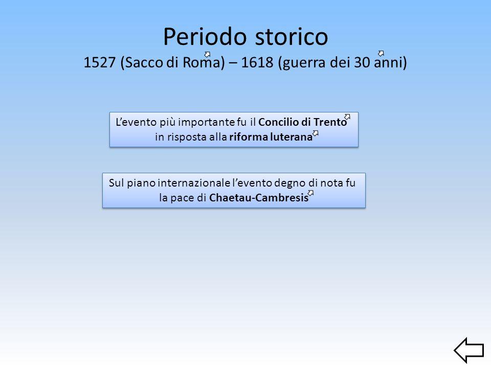 Periodo storico 1527 (Sacco di Roma) – 1618 (guerra dei 30 anni) Levento più importante fu il Concilio di Trento in risposta alla riforma luterana Sul