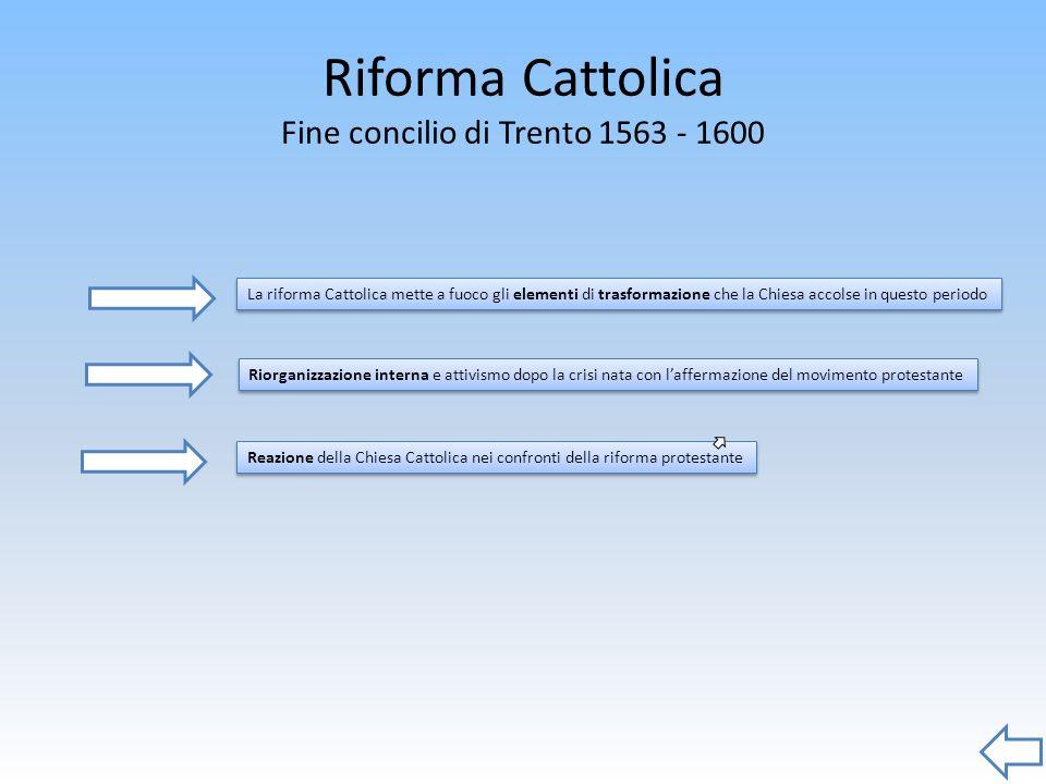 Riforma Cattolica Fine concilio di Trento 1563 - 1600 Reazione della Chiesa Cattolica nei confronti della riforma protestante Riorganizzazione interna