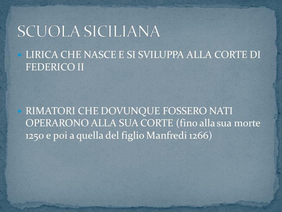 Lirica provenzale: tema amoroso e politico-militare Scuola poetica siciliana argomento unico: l AMORE.