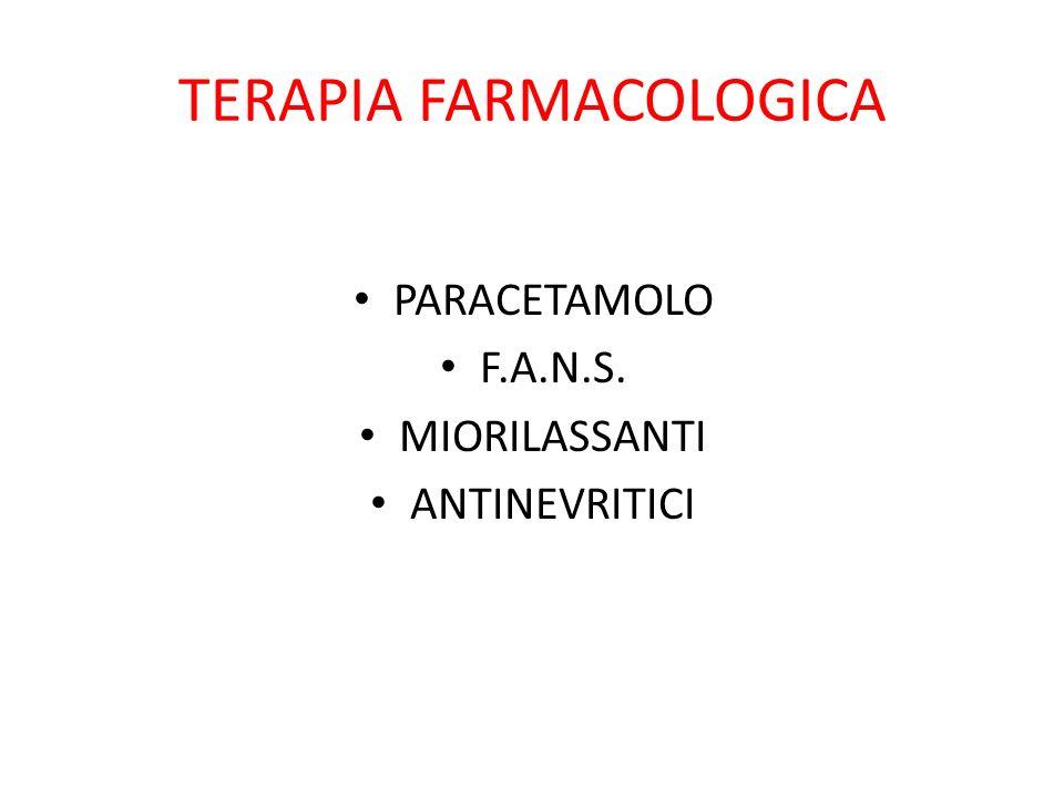 TERAPIA FARMACOLOGICA PARACETAMOLO F.A.N.S. MIORILASSANTI ANTINEVRITICI