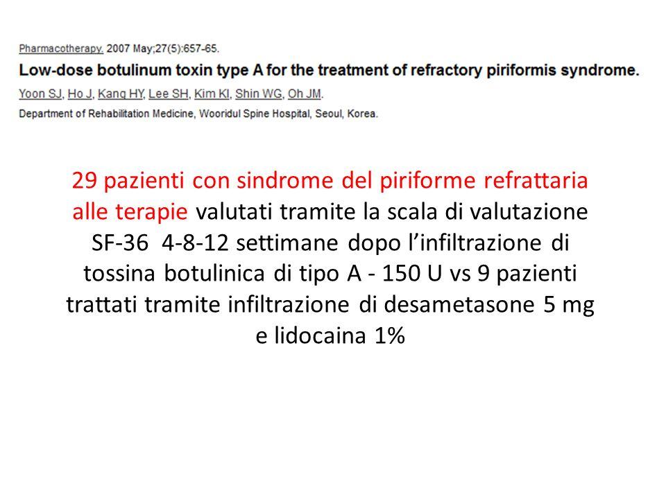 29 pazienti con sindrome del piriforme refrattaria alle terapie valutati tramite la scala di valutazione SF-36 4-8-12 settimane dopo linfiltrazione di