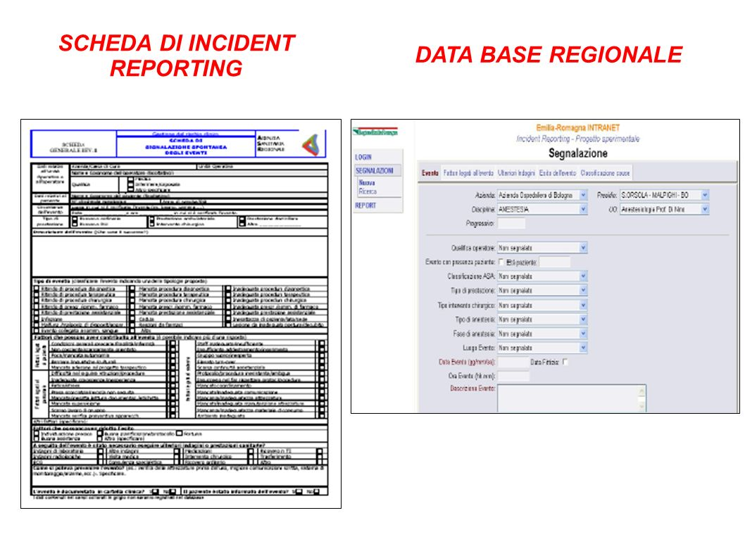 SCHEDA DI INCIDENT REPORTING DATA BASE REGIONALE