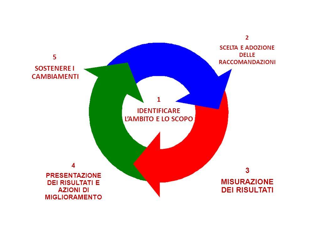 3 MISURAZIONE DEI RISULTATI 4 PRESENTAZIONE DEI RISULTATI E AZIONI DI MIGLIORAMENTO 5 SOSTENERE I CAMBIAMENTI 1 IDENTIFICARE LAMBITO E LO SCOPO 2 SCELTA E ADOZIONE DELLE RACCOMANDAZIONI