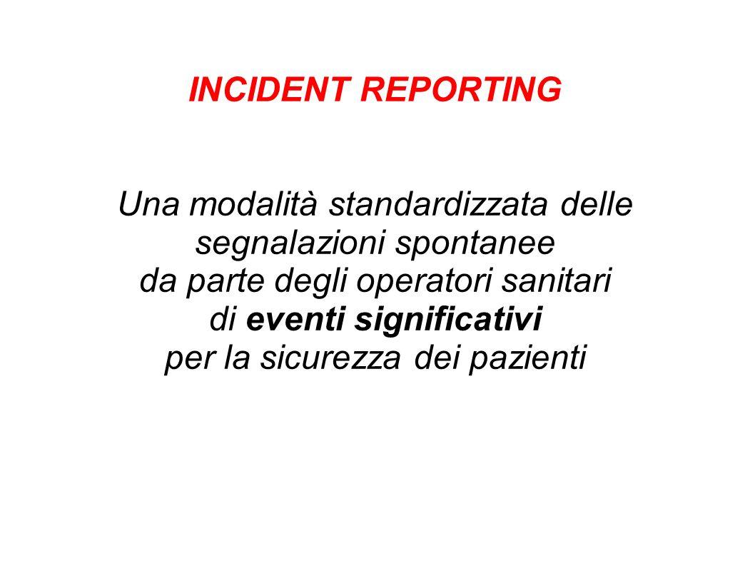 INCIDENT REPORTING Una modalità standardizzata delle segnalazioni spontanee da parte degli operatori sanitari di eventi significativi per la sicurezza dei pazienti