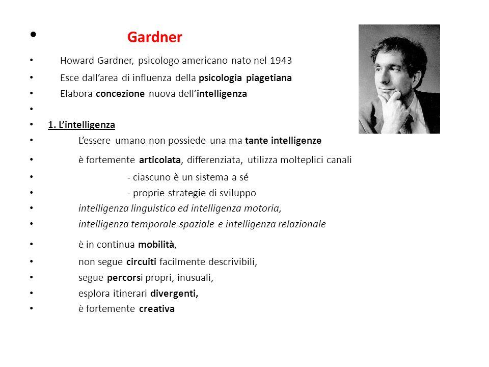 Gardner Howard Gardner, psicologo americano nato nel 1943 Esce dallarea di influenza della psicologia piagetiana Elabora concezione nuova dellintelligenza 1.