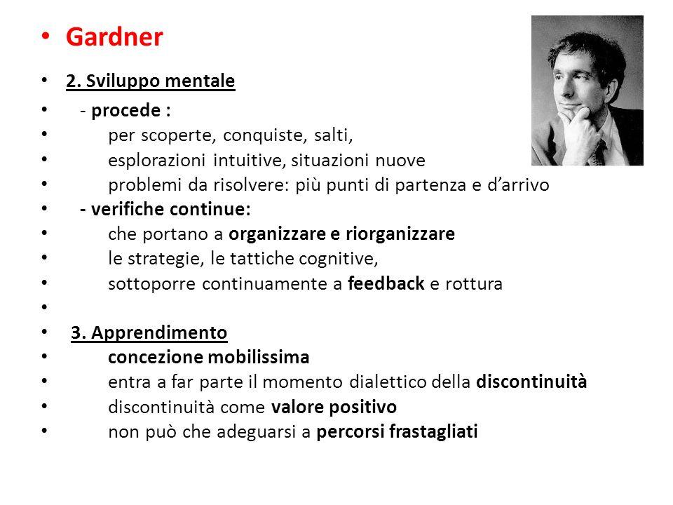 Gardner 2. Sviluppo mentale - procede : per scoperte, conquiste, salti, esplorazioni intuitive, situazioni nuove problemi da risolvere: più punti di p