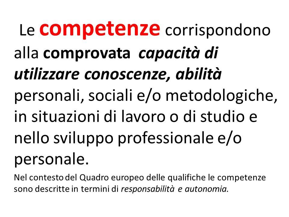 Le competenze corrispondono alla comprovata capacità di utilizzare conoscenze, abilità personali, sociali e/o metodologiche, in situazioni di lavoro o di studio e nello sviluppo professionale e/o personale.