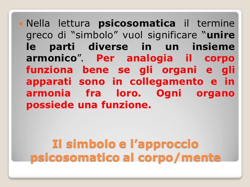 Il simbolo e lapproccio psicosomatico al corpo/mente Nella lettura psicosomatica il termine greco di simbolo vuol significare unire le parti diverse i