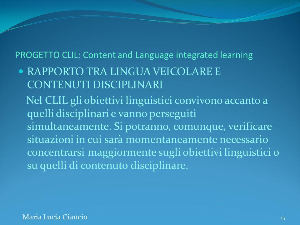 PROGETTO CLIL: Content and Language integrated learning RAPPORTO TRA LINGUA VEICOLARE E CONTENUTI DISCIPLINARI Nel CLIL gli obiettivi linguistici conv