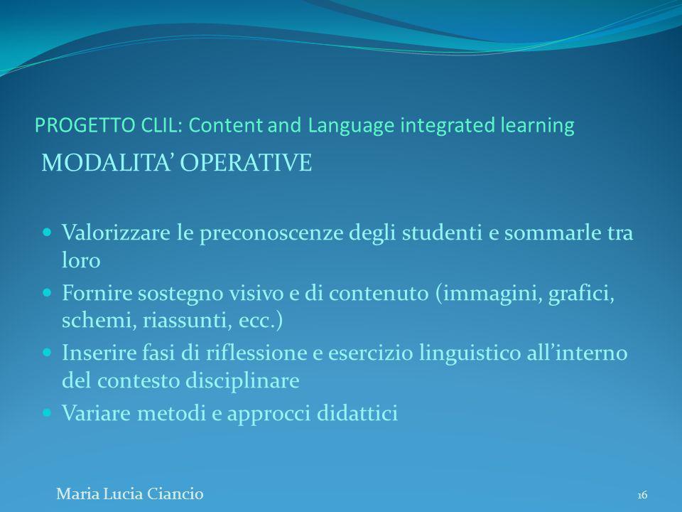 PROGETTO CLIL: Content and Language integrated learning MODALITA OPERATIVE Valorizzare le preconoscenze degli studenti e sommarle tra loro Fornire sos
