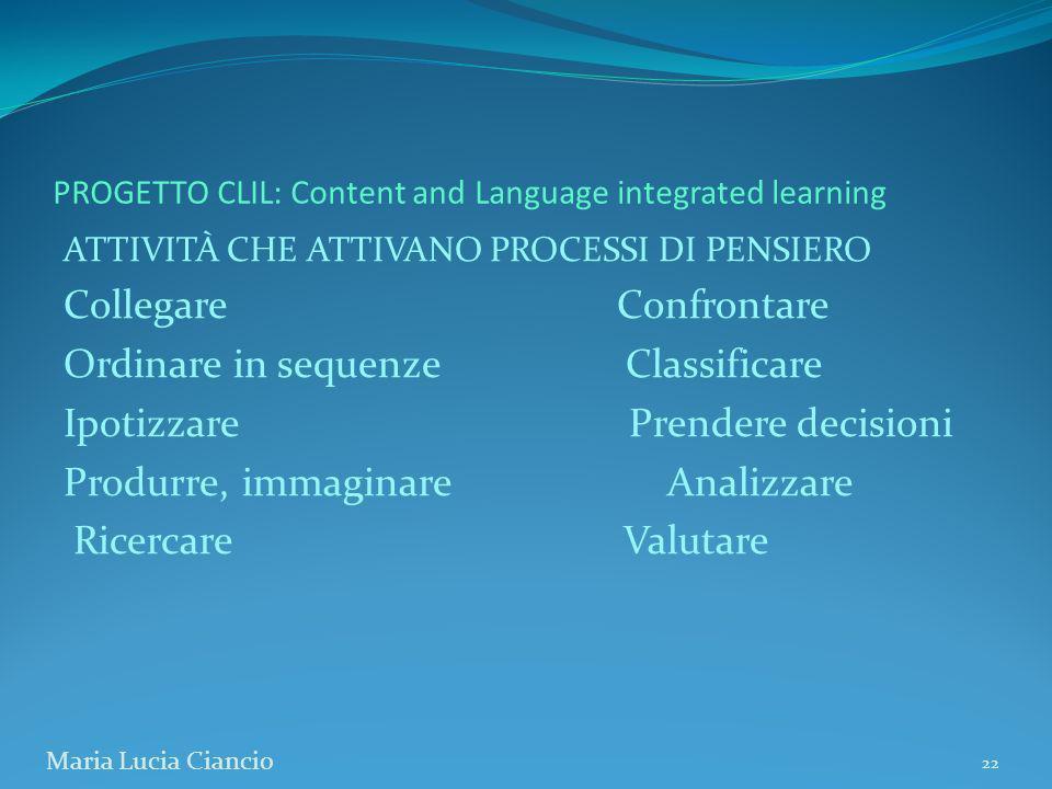 PROGETTO CLIL: Content and Language integrated learning ATTIVITÀ CHE ATTIVANO PROCESSI DI PENSIERO Collegare Confrontare Ordinare in sequenze Classifi