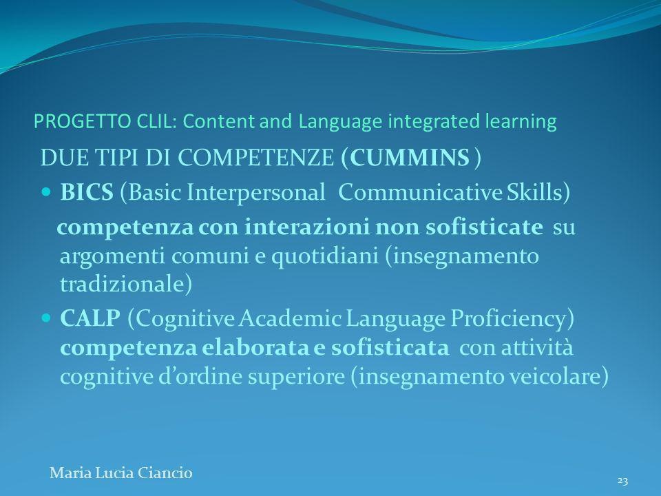 PROGETTO CLIL: Content and Language integrated learning DUE TIPI DI COMPETENZE (CUMMINS ) BICS (Basic Interpersonal Communicative Skills) competenza c