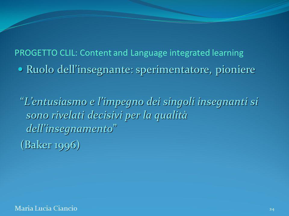 PROGETTO CLIL: Content and Language integrated learning Ruolo dellinsegnante: sperimentatore, pioniere Ruolo dellinsegnante: sperimentatore, pioniere
