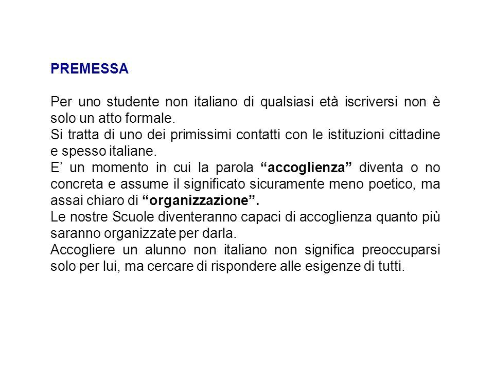 PREMESSA Per uno studente non italiano di qualsiasi età iscriversi non è solo un atto formale.