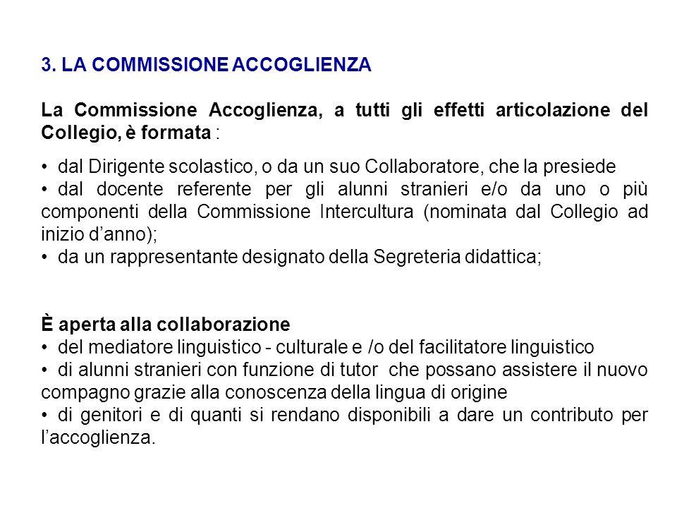 3. LA COMMISSIONE ACCOGLIENZA La Commissione Accoglienza, a tutti gli effetti articolazione del Collegio, è formata : dal Dirigente scolastico, o da u