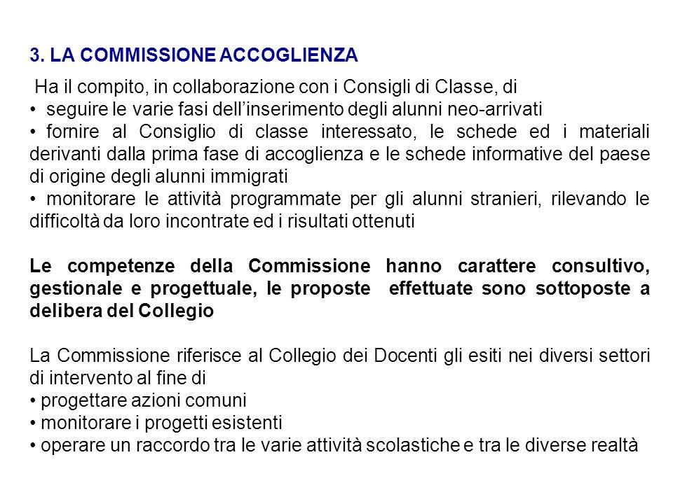 3. LA COMMISSIONE ACCOGLIENZA Ha il compito, in collaborazione con i Consigli di Classe, di seguire le varie fasi dellinserimento degli alunni neo-arr