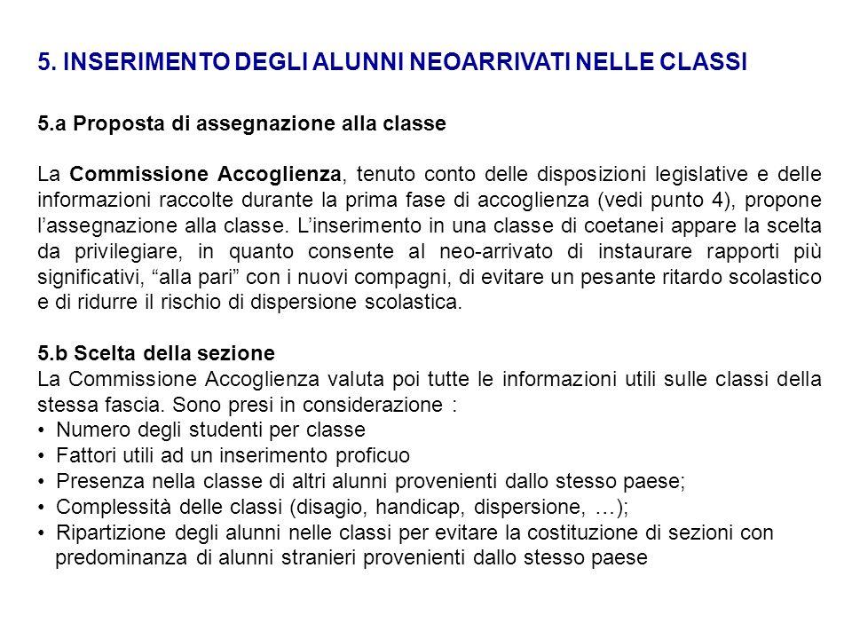 5. INSERIMENTO DEGLI ALUNNI NEOARRIVATI NELLE CLASSI 5.a Proposta di assegnazione alla classe La Commissione Accoglienza, tenuto conto delle disposizi