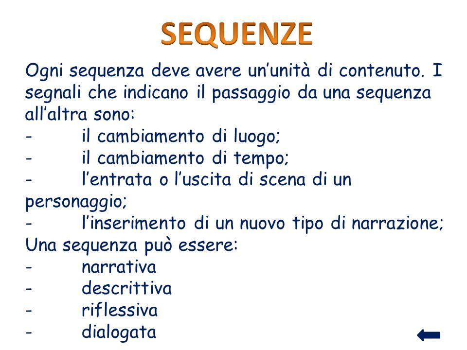 Ogni sequenza deve avere ununità di contenuto. I segnali che indicano il passaggio da una sequenza allaltra sono: - il cambiamento di luogo; - il camb